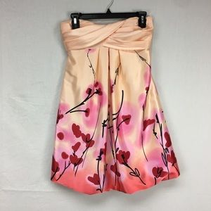 Jump Apparel Peach Strapless Floral Print Dress